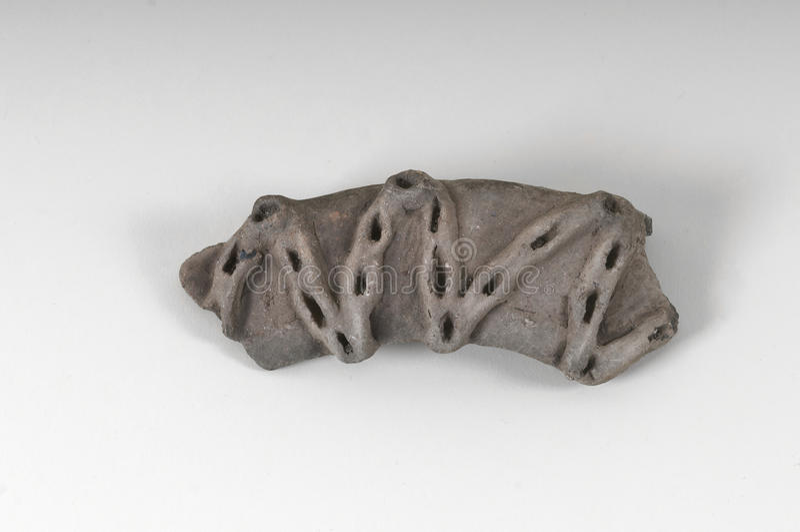 Indisch Taino-zeer oud de zigzagontwerp van het pottenhandvat royalty-vrije stock foto's