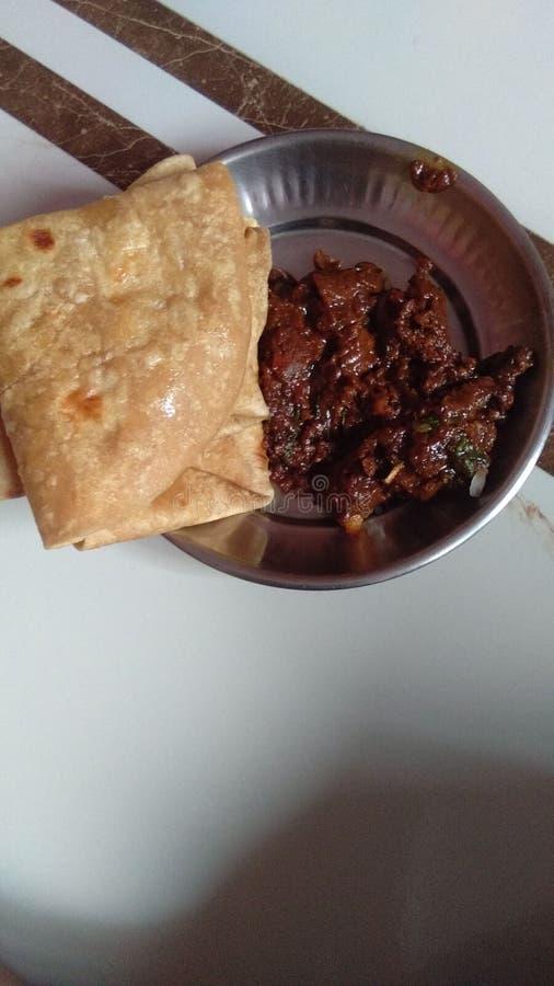 Indisch voedsel Roti en Sakat stock foto