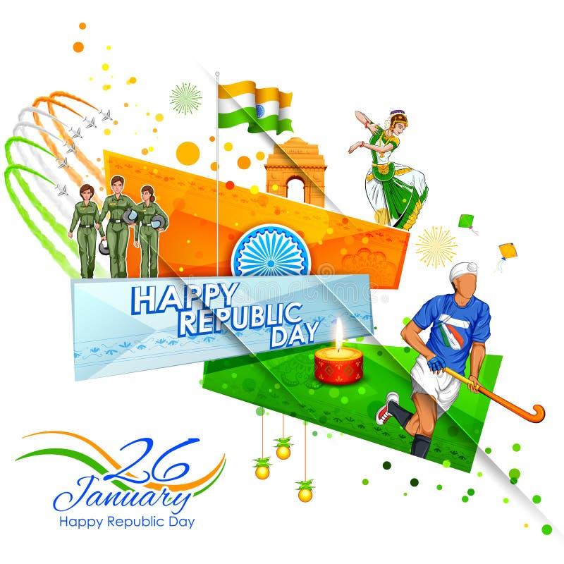 Indische achtergrond die zijn ongelooflijke cultuur en diversiteit met monument, de viering van het dansfestival voor zesentwinti royalty-vrije illustratie