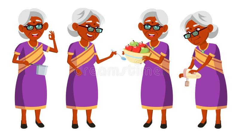 Indische alte Frau in Sari Vector Ältere Menschen hinduistisch Asiatisch Ältere Person gealtert aktivität Anzeige, grüßend stock abbildung