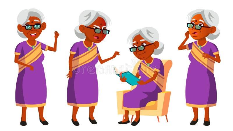 Indische alte Frau in Sari Vector Ältere Menschen hinduistisch Asiatisch Ältere Person gealtert Komischer Pensionär lebensstil po stock abbildung