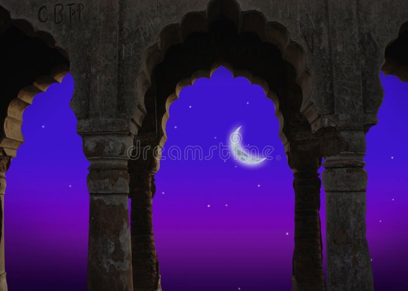 Indische architectuur bij nacht royalty-vrije illustratie