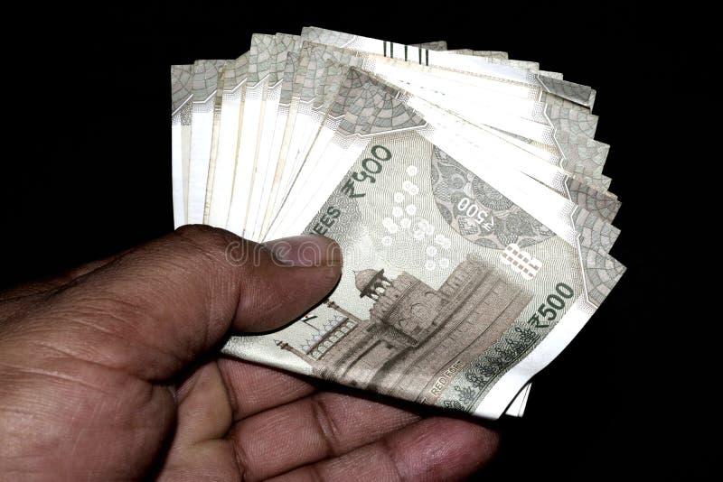 500 indische Banknoten stockbilder