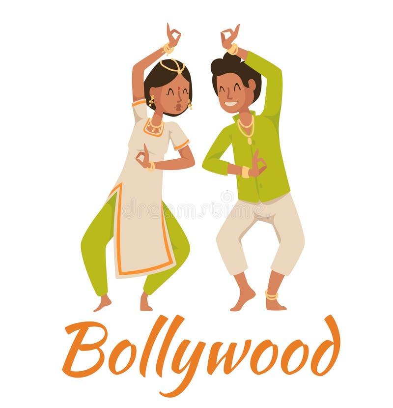 Indische Bollywood-paar het dansen vector royalty-vrije illustratie