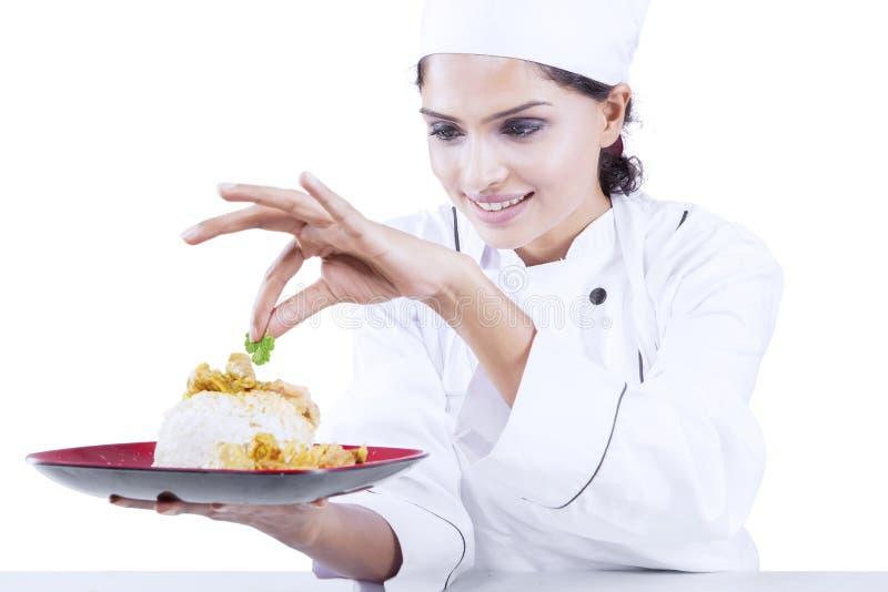 Indische chef-kok die voedsel in de studio voorbereiden royalty-vrije stock foto