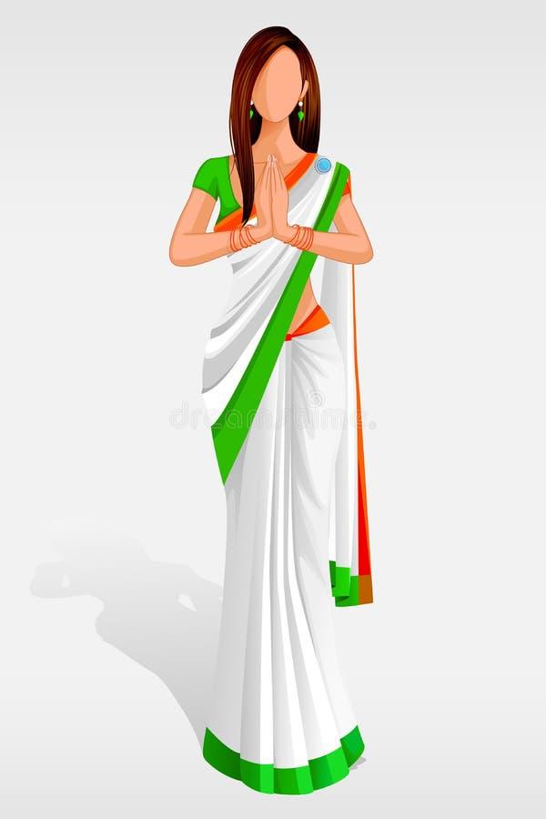 Indische Dame in der indischen Markierungsfahnen-Sari lizenzfreie abbildung