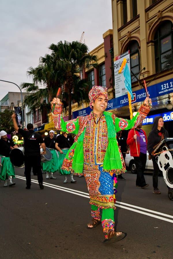 Indische danser bij multicultureel festival in Sydney royalty-vrije stock fotografie