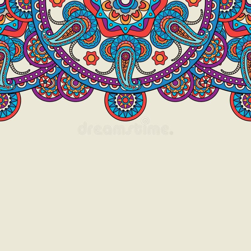 Indische de krabbel hogere grens van Paisley vector illustratie