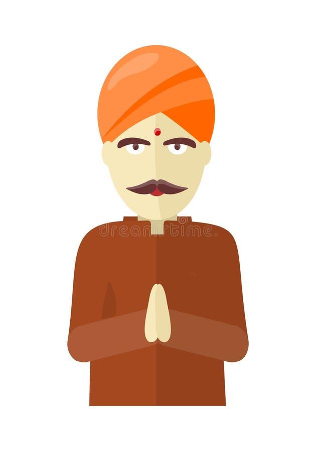 Indische die mens op witte achtergrond wordt geïsoleerd royalty-vrije illustratie