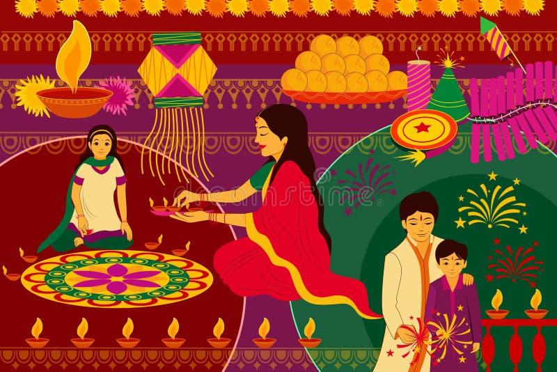 Indische Familie, die glückliche Diwali-Festivalhintergrund-Kitschkunst Indien feiert vektor abbildung