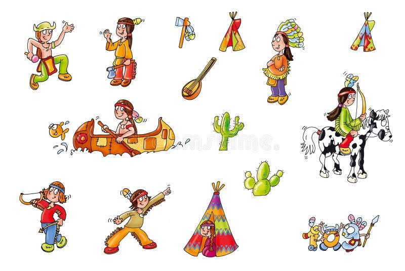 Indische Familie, komisch für Kinder, Abenteuer für Jungen vektor abbildung