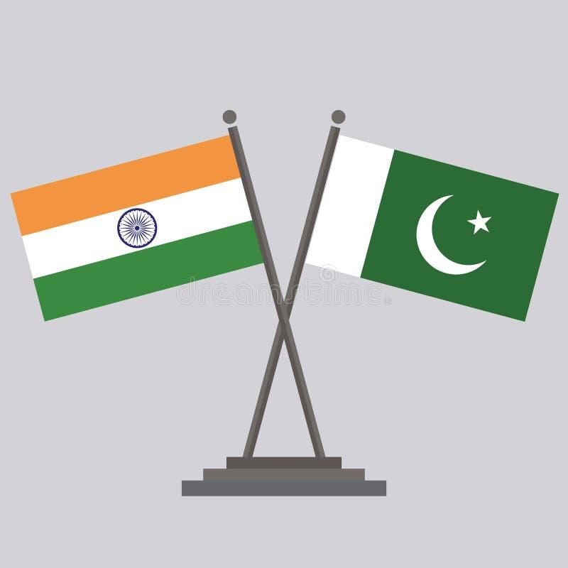 Indische Flagge und Pakistan-Flagge lizenzfreie abbildung