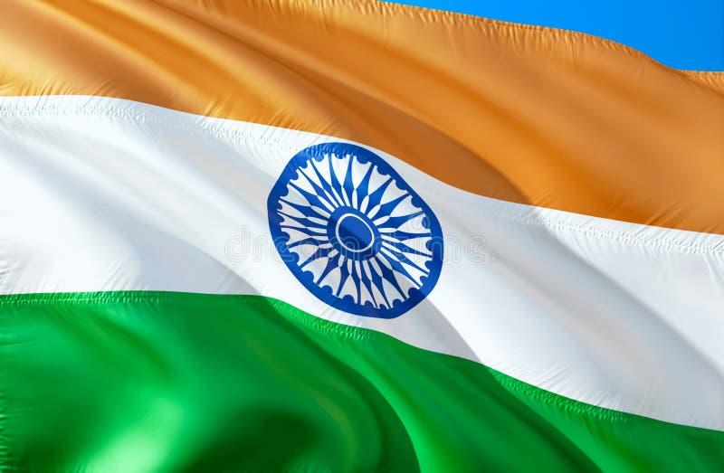Indische Flagge wellenartig bewegendes Design der Flagge 3D Das nationale Sonderzeichen von Indien, Wiedergabe 3D Indische nation lizenzfreie abbildung
