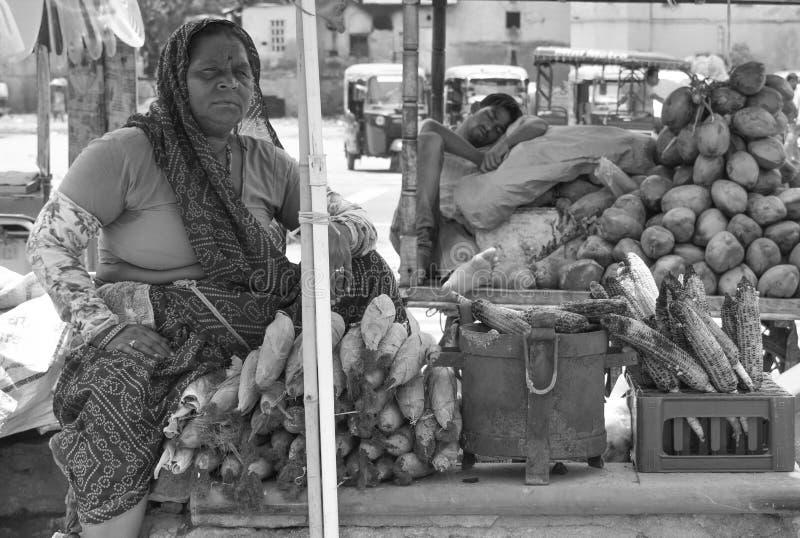 Indische Frau, die Mais auf dem rosa Stadtjaipur-Markt verkauft, Indianerland lizenzfreies stockbild