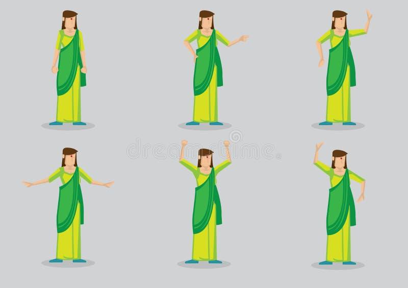 Indische Frau, die Sari Vector Character Illustration trägt vektor abbildung