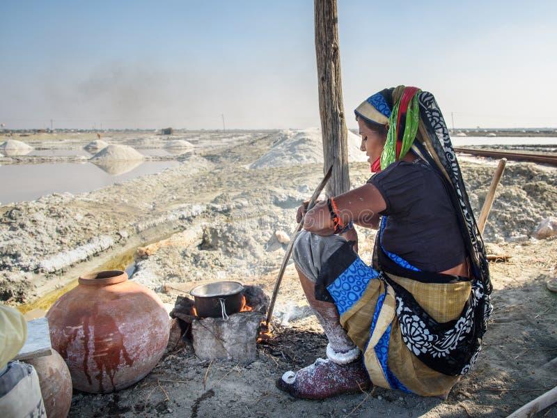 Indische Frau, die Tee auf Feuer bei Sambhar Salt Lake macht Indien lizenzfreie stockfotos