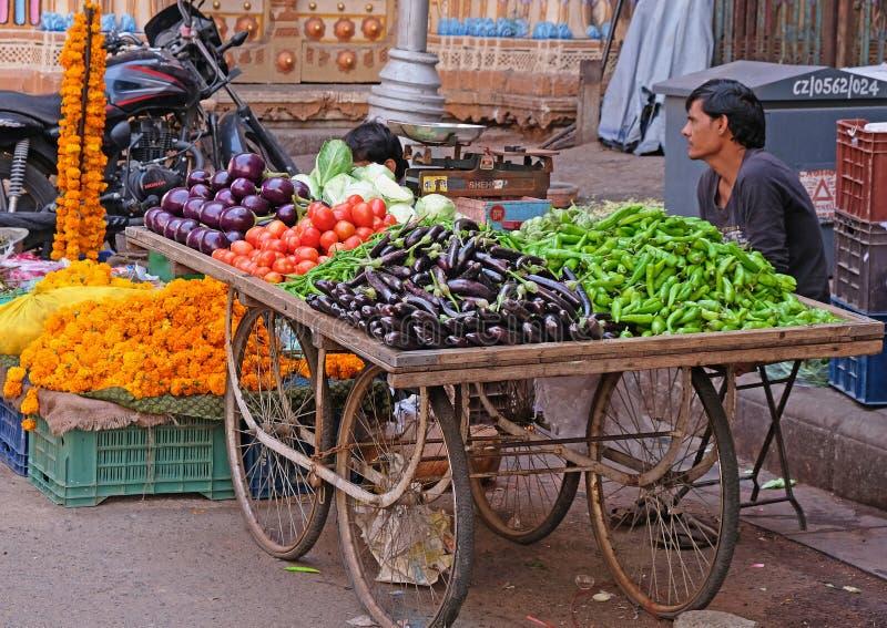 Indische fruit en veg verkoper royalty-vrije stock foto's
