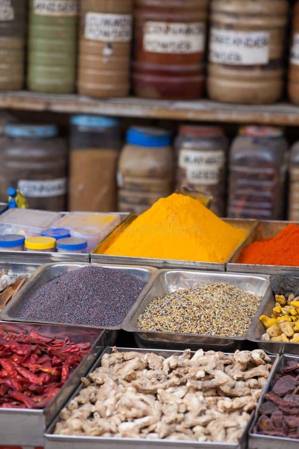 Indische gekleurde kruiden bij lokale markt in Goa, India royalty-vrije stock foto's