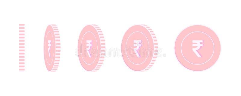 Indische geplaatste Roepie roterende muntstukken, klaar animatie stock illustratie