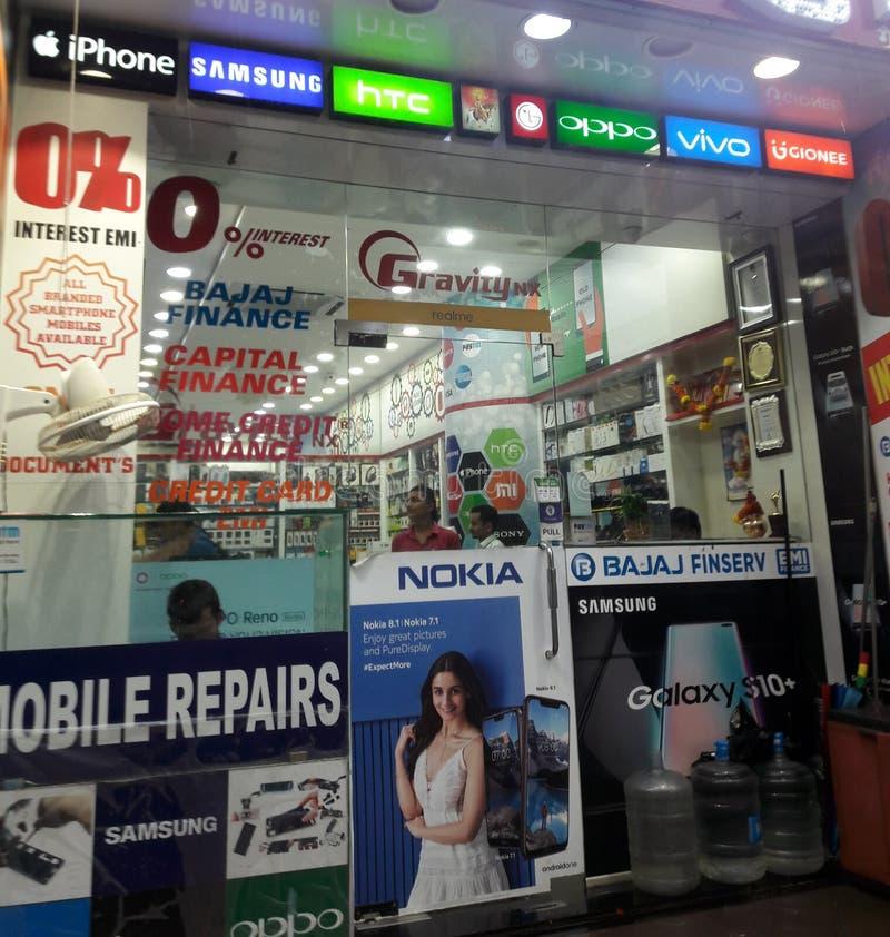 Indische Geschäfte intern und äußerer Blick lizenzfreies stockfoto