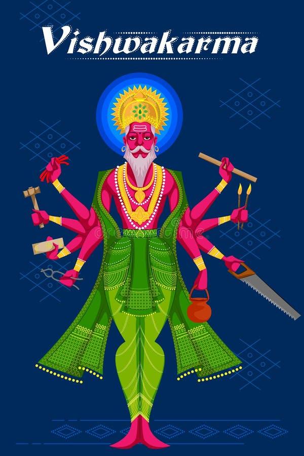 Indische God Vishwakarma met verschillende hulpmiddelen vector illustratie