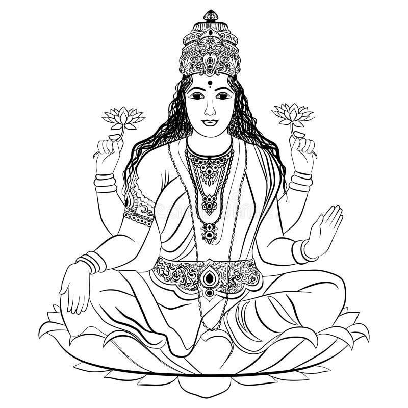Indische Godin Lakshmi stock illustratie