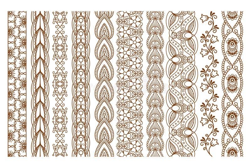 Indische Henna Seamless Borders vector illustratie