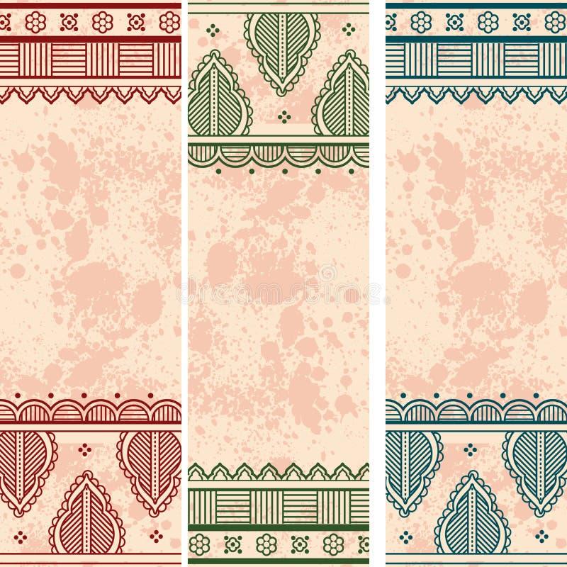 Indische Hennastrauchschmutzpaisley-Designvertikalenfahnen stock abbildung