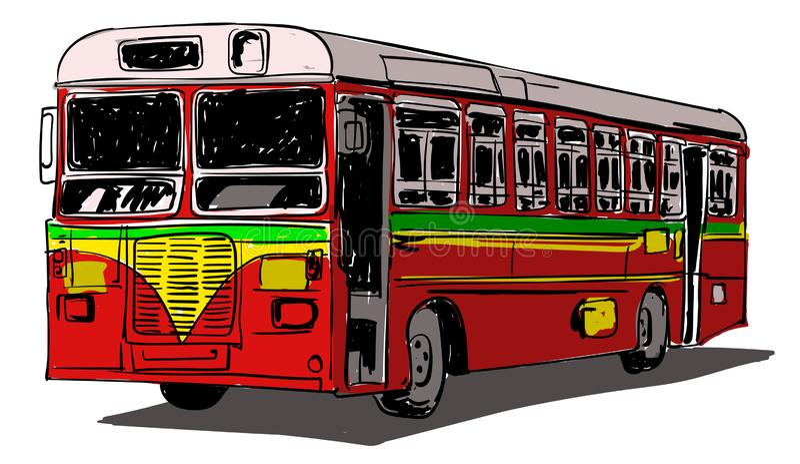 Indische Illustration der öffentlichen Transportmittel stock abbildung