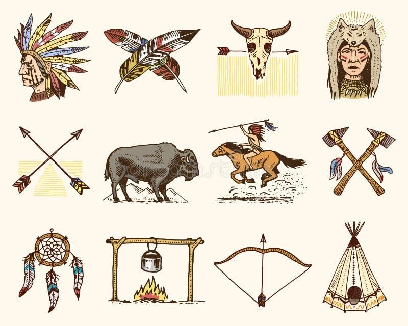 Indische of inheemse Amerikaan buffels, assen en tent, pijlen en boog, schedel, Dreamcatcher en Cherokee, tomahawk Reeks van vector illustratie