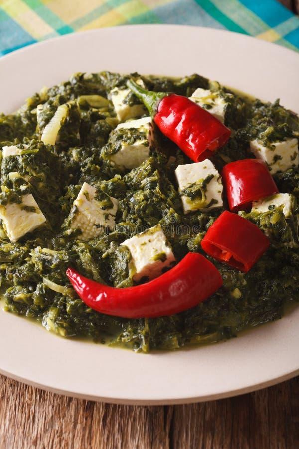 Indische Küche: Palak-paneer Nahaufnahme vertikal lizenzfreie stockfotografie