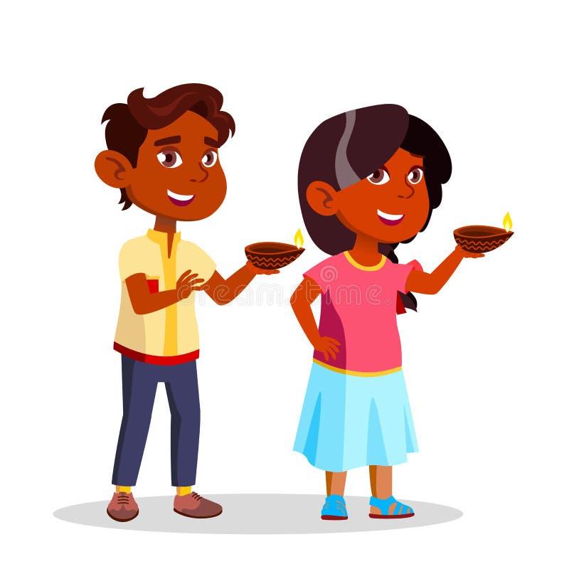 Indische Kinder Diwali-Festival-Beleuchtungs-Kerzen-Vektor-in der flachen Karikatur-Illustration lizenzfreie abbildung