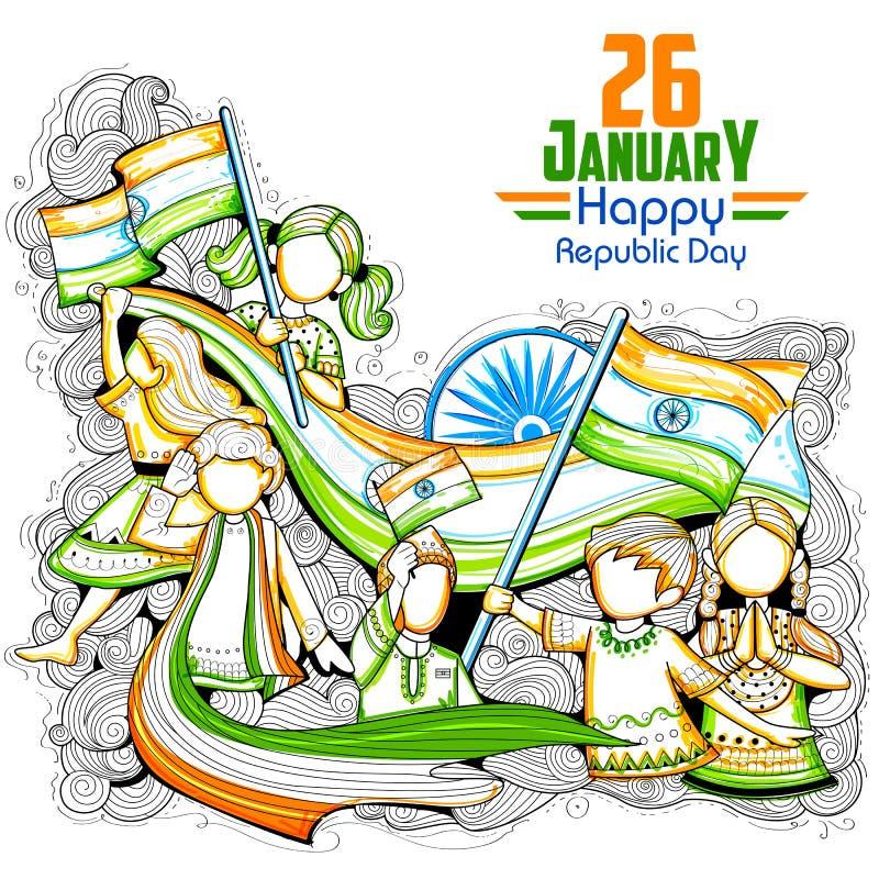 Indische Kinder, welche die dreifarbige Flagge feiert Tag der Republik von Indien wellenartig bewegen vektor abbildung