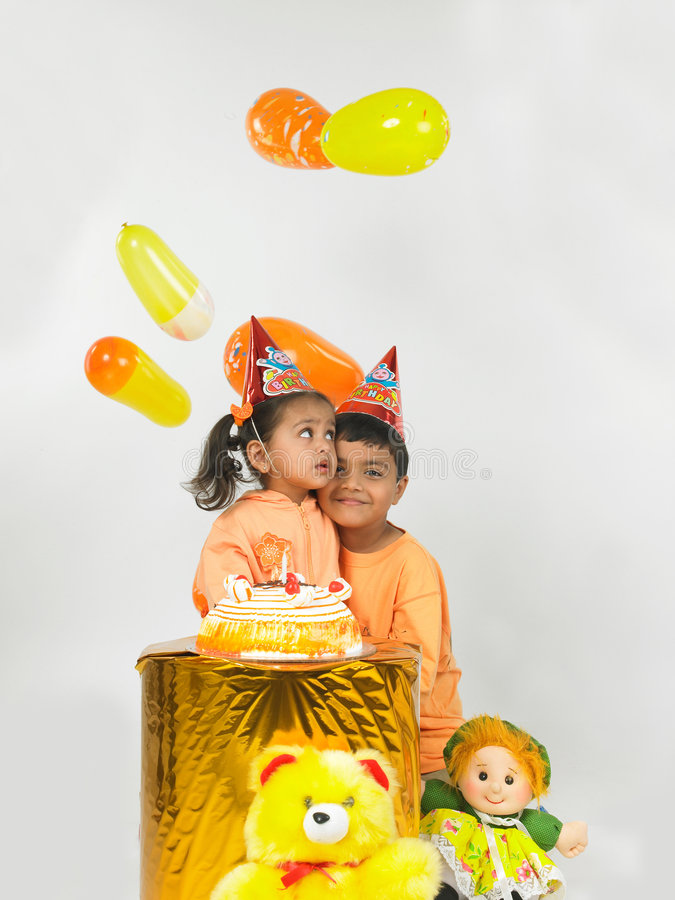 Indische kinderenverjaardag stock foto