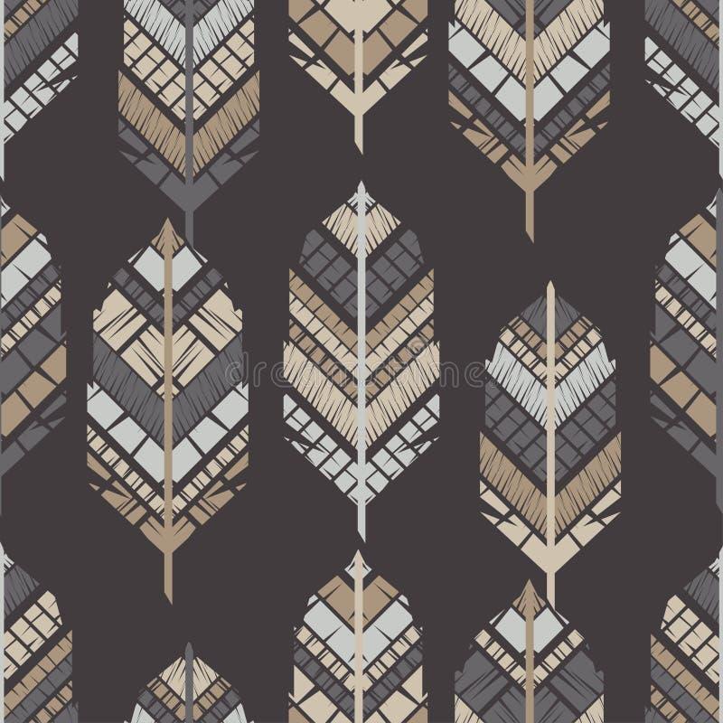 Indische kleurrijke veren Naadloos patroon Vector illustratie stock illustratie