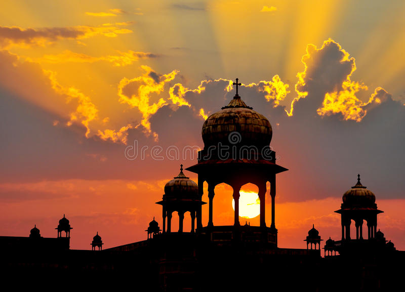 Indische koepelszonsondergang royalty-vrije stock fotografie
