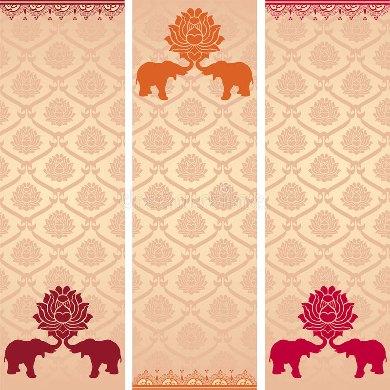 Indische Lotos- und Elefantvertikalenfahnen vektor abbildung