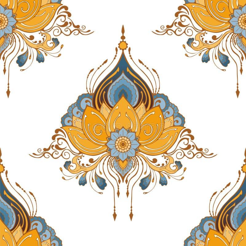 Indische Lotosblumen-Vektornahtlosmuster mehndi Hennastrauchtätowierungsart-Yogameditation oder Zendekorationshintergrund stock abbildung