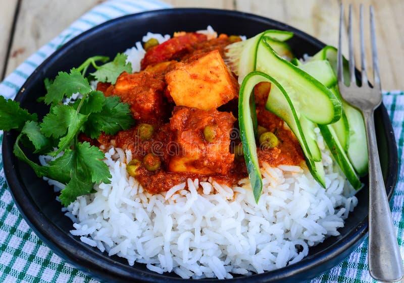 Indische maaltijd met rijst royalty-vrije stock foto's