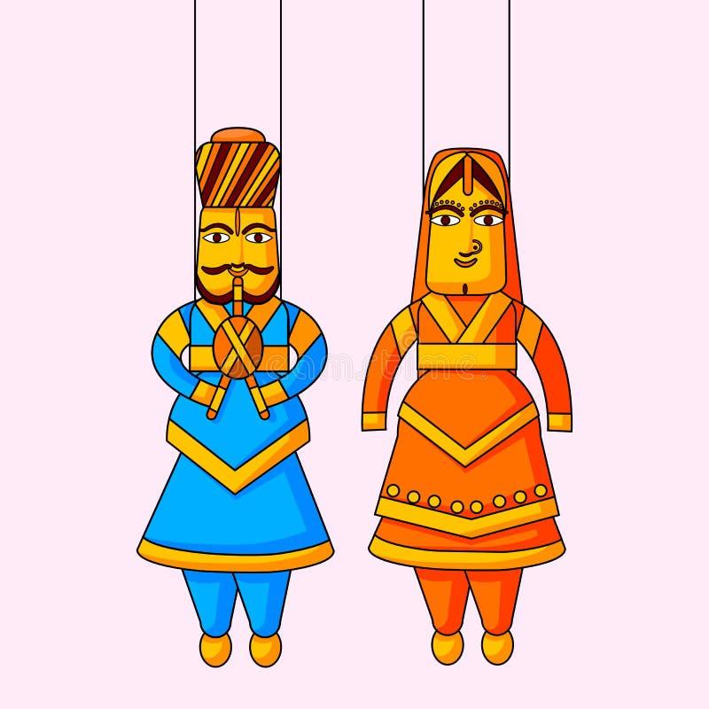 Indische Marionette von König und von Königin lizenzfreie abbildung