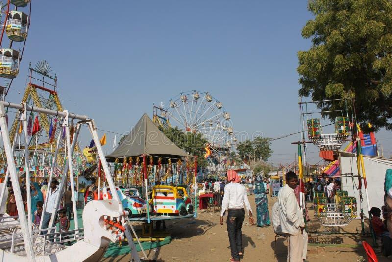 Indische Mensen bij Pushkar-Markt royalty-vrije stock foto