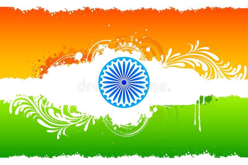 Indische mit Blumenflagge stock abbildung