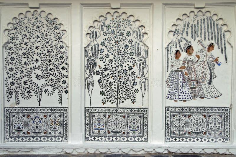 Indische Muurschilderingen royalty-vrije stock foto