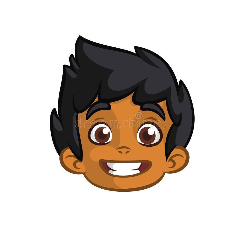 Indische nette kleine Jungenkopfkarikatur Lächelnder Ausdruck des indischen afroen-amerikanisch Jungen Vektorikone umrissen vektor abbildung