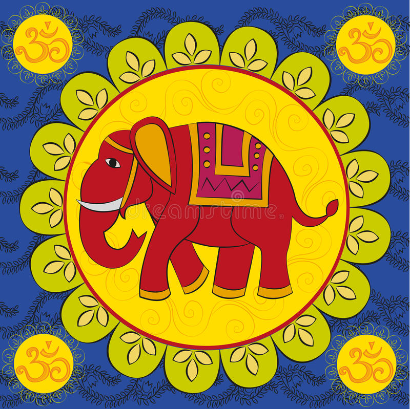 Indische olifant met mandala vector illustratie
