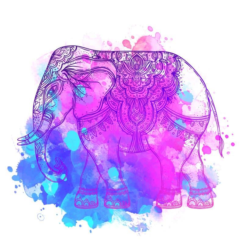Indische olifant over waterverfachtergrond Tatoegeringskunst, yoga Ha stock illustratie