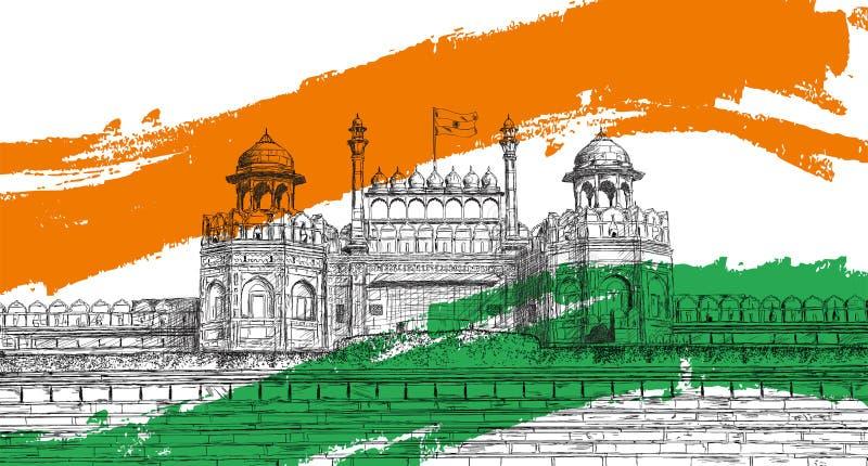 Indische Onafhankelijkheidsdag - Rood Fort, India met Tricolor-Vlag vector illustratie