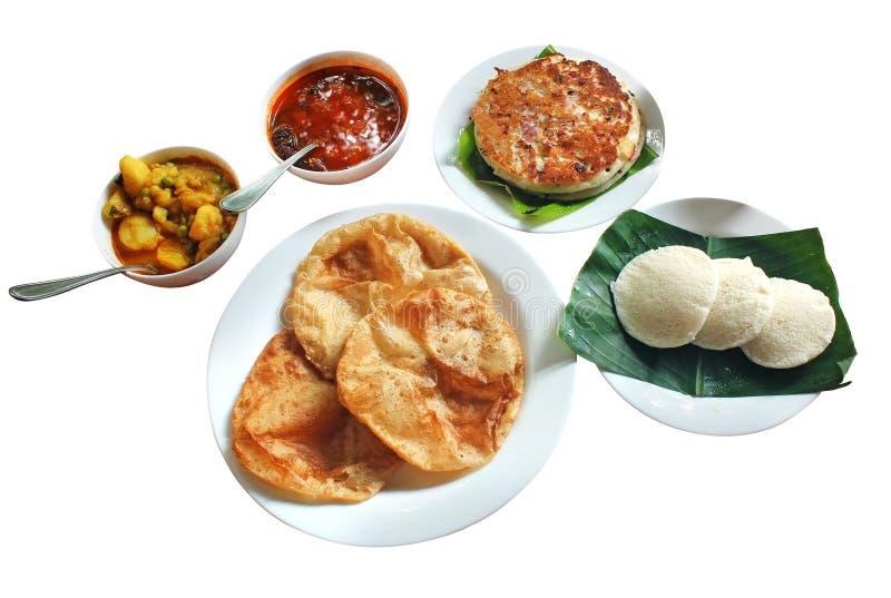Indische ontbijt & lunch - dosa, idli, sambar poori, stock fotografie
