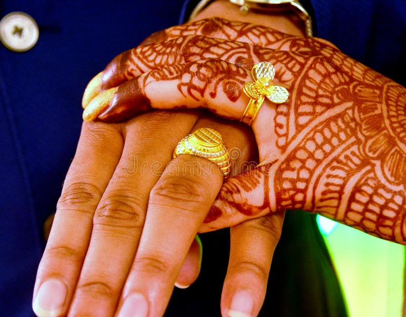 Indische Overeenkomstenfotografie of Ring Ceremony stock foto's