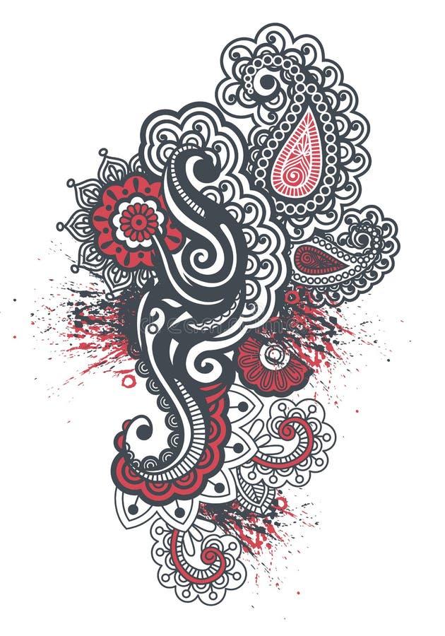 Indische patroontatoo vector illustratie